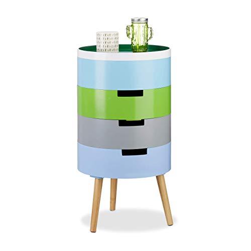 Relaxdays 10021867 Mobiletto Tondo 4 Scomparti Coperchio-Vassoio Design Scandinavo Decorativo HxLxP: 72 x 39 x 39 cm Legno Colorato