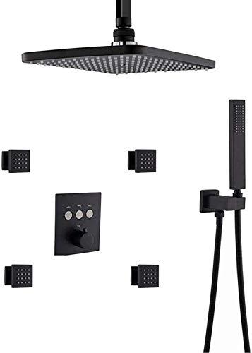 JeeKoudy Ducha Sistema, termostático de latón Grifo de la Ducha de Techo Sistema Rectangular de 12 x 8 Pulgadas con Chorro Corporal Conjunto de Ducha Puede Utilizar Junto a TH