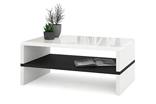 all4all Couchtisch Kaffetisch Riva mit Ablage Hochglanz Matt Weiß Schwarz Betonfarbe Modern 05 (Weiß Hochglanz + Schwarz)