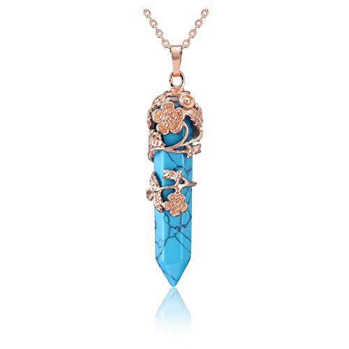 JOVIVI Blue Turquoise Crystal Healing Pendant Necklace for Women, Vintage Rose Gold Flower Wrapped Hexagonal Gemstone Healing Point Chakra Stone Necklace Energy Balacing Jewellery Gifts