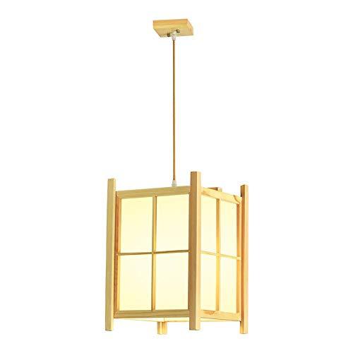 Nuevo estilo chino Candelabro de madera Personalidad simple Candelabro LED Restaurante Bed and Breakfast Candelabro de salón de té (A)