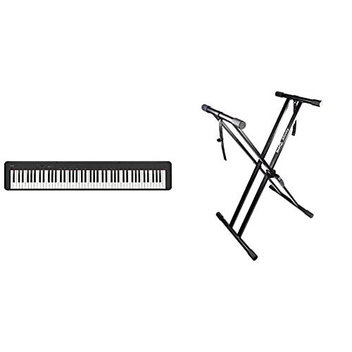 CDP-S100 Digitalpiano mit 88 gewichteten Tasten & RockJam xfinity doppelstrebiger pre hochparametrierbares Keyboard-Ständer mit Verriegelungslaschen zusammengebaut