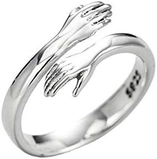Yunobi - Anello regolabile in argento Sterling 925, con mani abbracciate, per donne e uomini