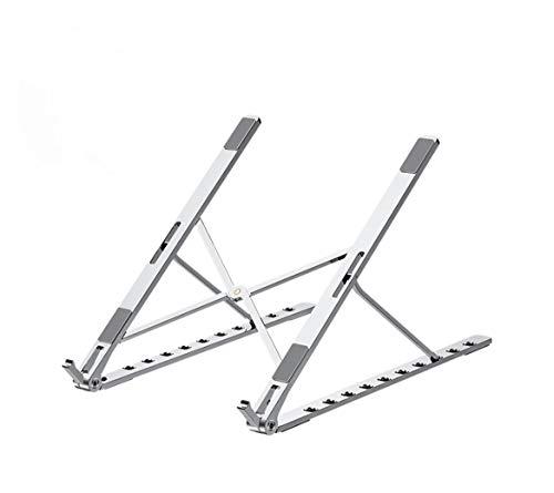 Adoreco - Soporte de aluminio para portátil, 10 posiciones de marcha, multiángulo, ajustable, de aleación de aluminio, plegable, soporte para tablet de 10-17 pulgadas portátil/iPad