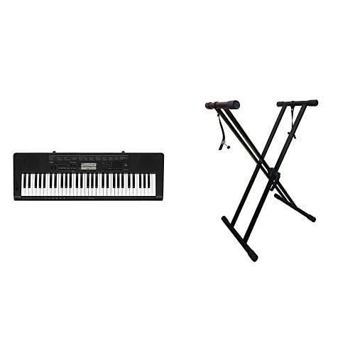 Casio CTK-3500 Tastiera digitale arranger polifonica 61 tasti stile pianoforte & RockJam Xfinity Doublebraced Pre Assemblato Basamento della Tastiera Altamente Registrabile con Cinghie di Bloccaggio
