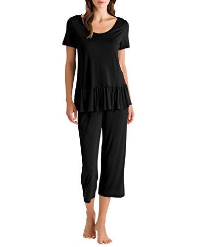 SUINNYME Capri Pyjama Damen Kurz Ärmel Rüschenbesatz Sleepwear Tops Caprihose Sanft Nachtwäsche Hausanzug Loungewear Schwarz XXL