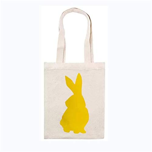 Easter Baskets Cotton Canvas Easter Egg Hunt Bags with Bunny Patterns Easter Bunny Bags, Easter Bunny Baskets Rabbit Ears Bags for Kids Eggs Hunting, Candy and Gifts Carry Bucket at Easter Party