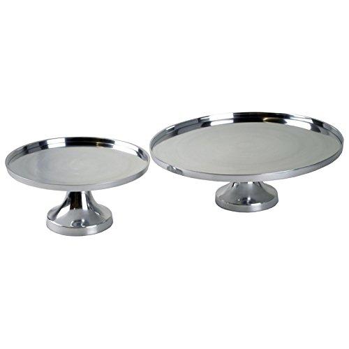 Casablanca 1 x Dekoteller auf Fuß Aduro Aluminium poliert rund Ø 37 cm, Hochzeit, Tischdeko, Tortenständer