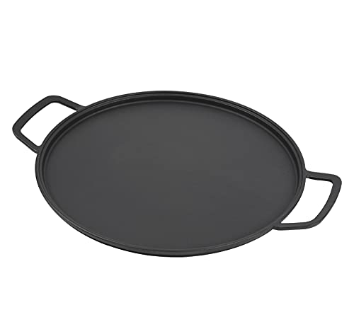 GasSaf 14' Cast Iron Pizza and Baking Pan for Stove, Oven, Grill, Campfire Long Lasting, Even-Heating and Versatile Kitchen Cookware