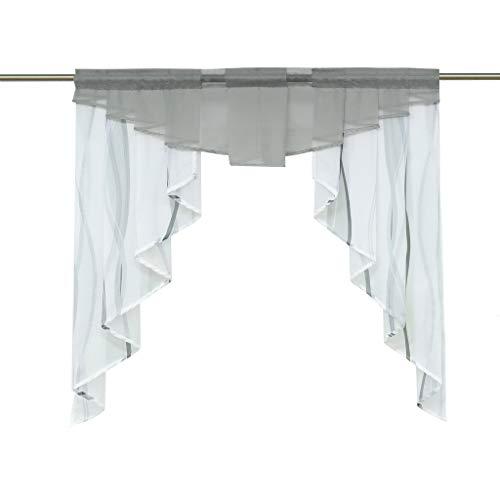 HongYa Tunnelzug Scheibengardine transparenter Voile Kurzgardine für Kleinfenster H/B 145/140 cm Weiß Silber