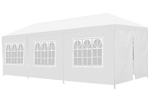 Outdoor Gazebo Canopy Wedding Party Tent Camping Shelter Gazebos with Removable Sidewalls Easy Setup for Patio Grill BBQ Pavilion Canopy Cater Events (10 x 30' with 8 Sidewalls)