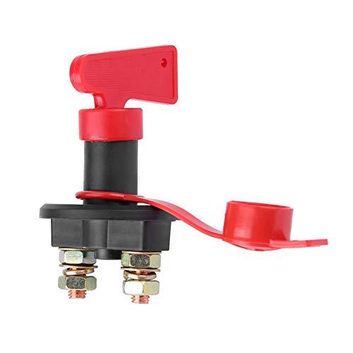 Aramox Interruptor de Encendido, Negro 12V / 24V Perilla de Aislamiento de energía Interruptor Principal Desconexión de batería Universal para automóvil con Llave extraíble