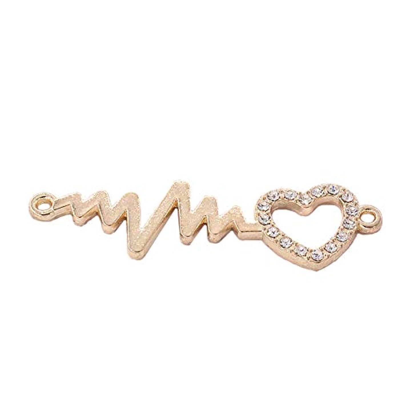 Golden Heart Shape Diamond Long Fold Shape Accessories Key Chain Bracelet Necklace Pendants for Mothers Day Gift