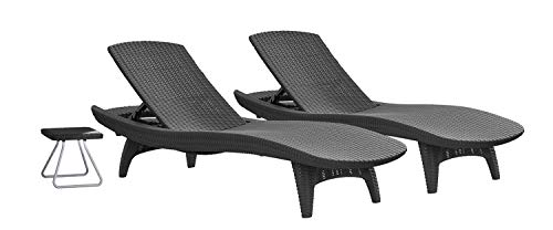 Keter Pacific Rattan Outdoor Adjustable Sunlounger and Table Garden Furniture Set - Graphite