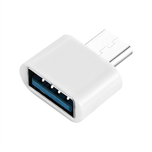 Allomn - Adaptador micro USB, teléfono USB tipo C (macho) a Micro USB 2.0 (hembra), convierte la entrada USB tipo C a micro USB, para teléfonos Android y tabletas inteligentes (negro) blanco