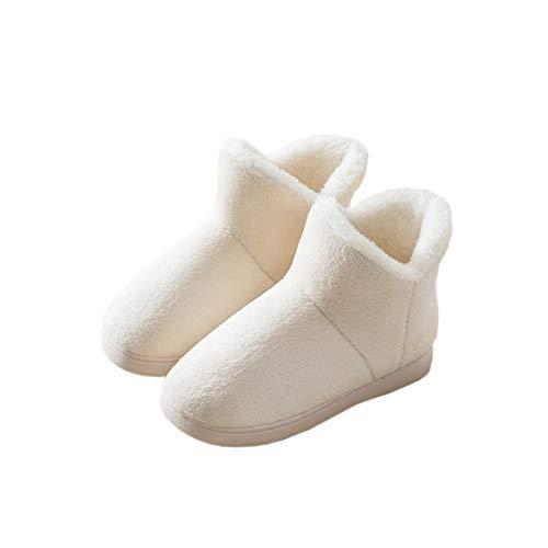 [HAPLUE] ルームシューズ 室内履き スリッパ スノーブーツ 暖かいブーツ プラスベルベット 厚いソール 保温する かかとを包む サンゴフリース 屋内と屋外 夫婦用 (24.5~25.0cm, ベージュ)