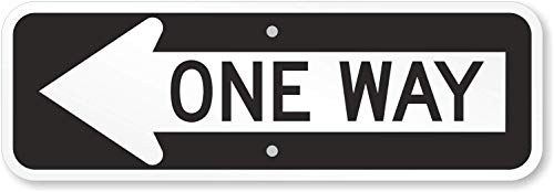 SmartSign - X-R6-1L-EG-6x18-M1 One Way MUTCD Compliant Sign with Left Arrow | 6 x 18 3M Engineer Grade Reflective Aluminum Black on White