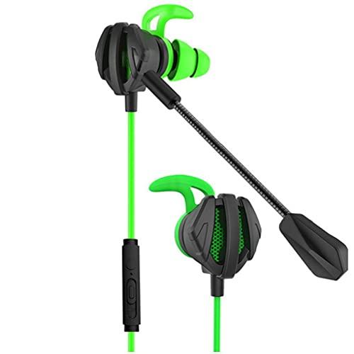 FeelMeet Juegos con Cable Auriculares con Cable Auriculares con cancelación de Ruido Dual Bass micrófono en la Oreja Auriculares para el teléfono de la computadora Verde
