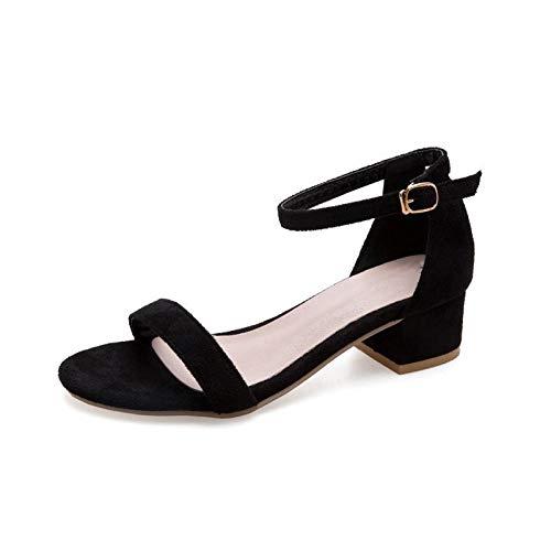 FAYHRH Damen Keilsandalen,Sandalen mit Blockabsatz, Schnallenschuhe, Sommeroberbekleidung für Damen - schwarz_35