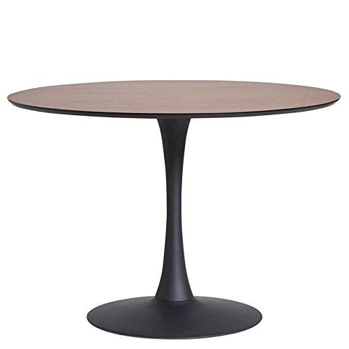 Tousmesmeubles Table de Repas Ronde Noyer/Noir Pied Central - Still - L 110 x l 110 x H 75 - Neuf