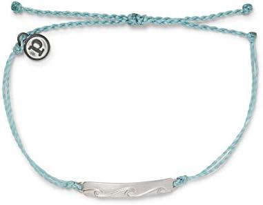 Pura Vida Silver Bar Into the Waves Waterproof Adjustable Bracelet Smoke Blue product image