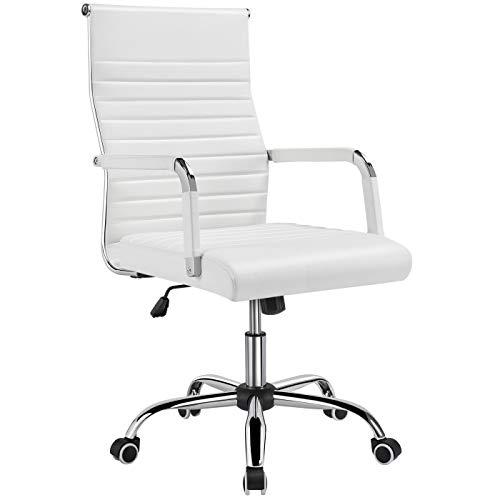 Yaheetech Bürostuhl Drehstuhl Arbeitshocker Drehocker Chefsessel mit hoher Rücklehne, höhenverstellbar aus Kunstleder Weiß