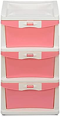 Nilkamal CHTR23 Three Layer Plastic Chest of Drawer (Pink and Cream)