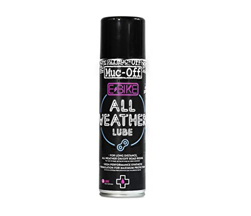 Muc-Off E-Bike All-Weather Chain Lube, 250 Millilitres - Premium Electric Bike Chain Lubricant Spray - Formulated For All Weather Conditions