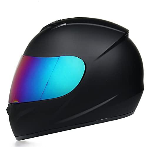 Motorrad-Integralhelm Leichter Straßenhelm mit extra getöntem Visier Motorradhelm DOT/ECE-zugelassen Unisex-Erwachsene Moto Knight Helm ATV Crash Helm,Blau,XL