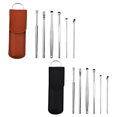 Innovador juego de herramientas limpiador de cera para orejas de primavera, de acero inoxidable, kit de eliminación de cera para orejas, limpiador de curetas para orejas unisex (marrón / negro)