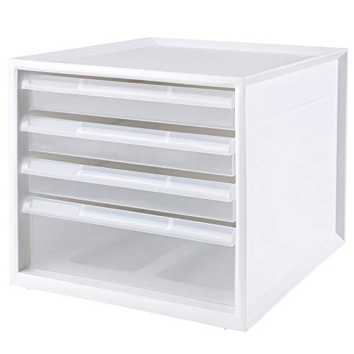 Homfa Schubladenbox Büro Ordner weiß mit 4 transparenten geschlossenen Schubladen Ordnungsbox stapelbar Aufbewahrungsbox für Schreibtisch A4 33×27.5×25cm