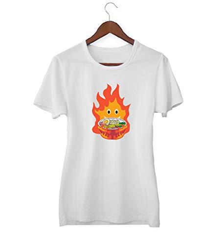 Howls Castle Ramen Demon Food On Fire_KK017475 Shirt T-shirt voor vrouwen dames - White