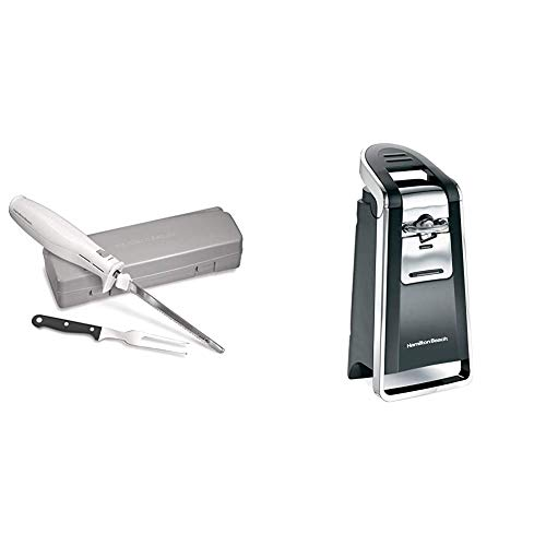 Hamilton Beach Electric Knife & (76606ZA) Smooth Touch Electric Automatic Can Opener with Easy Push Down Lever, Opens All Standard-Size and Pop-Top Cans, Extra Tall, Black and Chrome