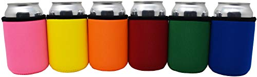 TahoeBay Premium Can Sleeves - 5mm Thick Neoprene Beer Coolies for Cans - Blank Drink Coolers (Multicolor, 6)
