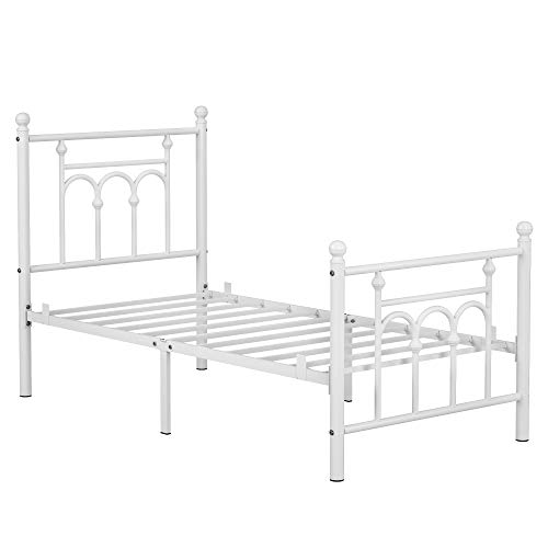VASAGLE Twin Size Metal Bed Frame with Headboard, Footboard, No Box Spring, Pearl White