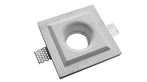 Porte spot carré avec relief en plâtre céramique à casier PF16 lot de 10 pièces + ressort bloquant ampoule
