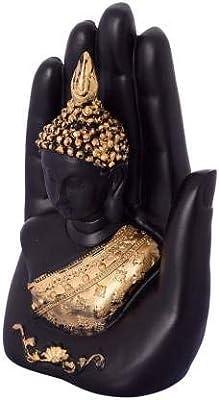 asian multistore hub Polyresin Palm Buddha Decorative Showpiece, Standard, Black Gold, 1 Piece