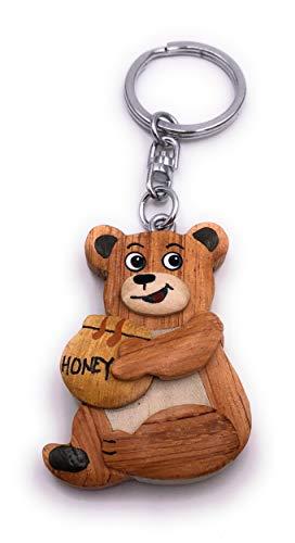 H-Customs Honig Bär Hungrig süß Holz Edel Handmade Schlüsselanhänger Anhänger