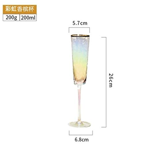 Creatieve Wijnglas Hamer Patroon Goud Rand Roze Grijs Kristal Glas Wijnbeker Champagne Zoete Wijnbeker Brandy Whiskey Gebruiksvoorwerpen Regenboog 200ml