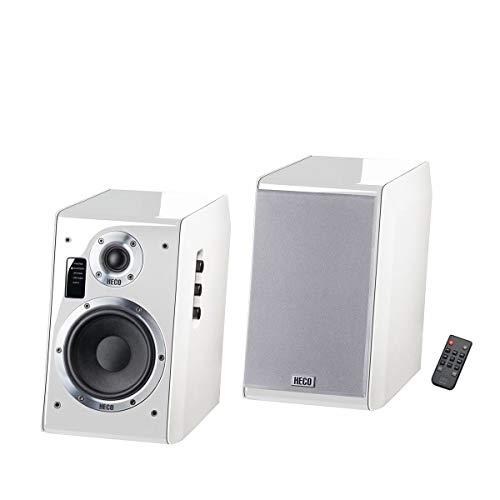 HECO Ascada 2.0, weiß – 1 Paar kraftvoller, wertiger Aktiv-Lautsprecher mit vielen Anschlussmöglichkeiten und edlem Klavierlack-Gehäuse