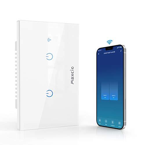 Interruttore WiFi da Parete, Maxcio Interruttore Alexa, Light Switch Compatibile con Alexa Echo, Google Home, Controllo Vocale, Maxcio APP Remoto Controllo, Funzione Timer, Toccare Controllo (2 Gang)