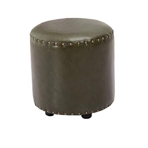 Sitzhocker mit Stauraum Sitzwürfel Sitzbank Hocker Rund 16'Hohe Fußstütze Hocker Hocker Mit Faux Luxury Oil Wax Leather Cover Holz Sofa Bank weich gepolstert (Color : Green)