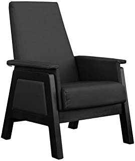 Dutailier Urban Glider, Espresso Hardwood Base and Black Leatherette Seat