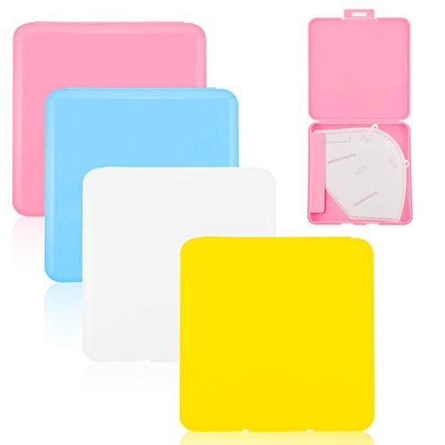 Pwsap 4 Stück Etui für Maske, Rechteckig Kiste Aufbewahrung von Masken Tragbarer Hartplastik Organizer für Einwegmasken Leicht und Wiederverwendbar zum Schutz vor Schmutz und Staub, 4 Farbe
