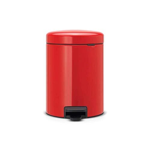 CJH Cubo de Basura Pedal de Basura Mini de Acero Inoxidable con Tapa Baño Dormitorio Hogar (Color: Blanco Tamaño: 5L),5L-Rojo
