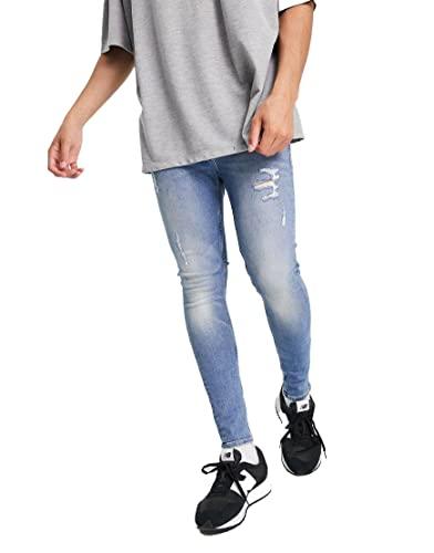 エイソス スキニー ジーンズ デニム スーパースキニー メンズ ASOS DESIGN Organic cotton blend spray on jeans with powers / ウエスト81cm 股下81cm / W32inL32in 110a [並行輸入品]