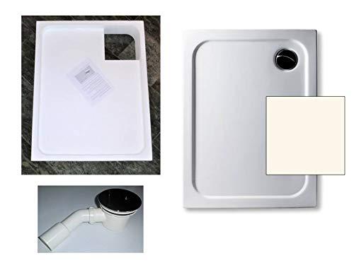 KOMPLETT-PAKET: Duschwanne 90 x 75 cm Farbe: PERGAMON superflach 2,5 cm Acryl + Styroporträger/Wannenträger + Ablaufgarnitur chrom DN 90