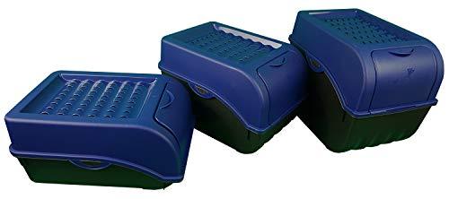 Novaliv Kartoffel Aufbewahrungsboxen Set | 3,5L + 5L + 9L | Marine BLAU | Kartoffelboxen | Gemüseboxen stapelbar Zwiebelboxen Kartoffelkörbe Obstbehälter Kartoffelkisten Frischhaltedosen
