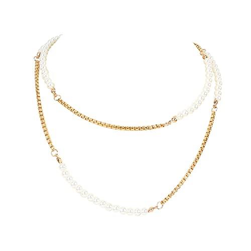 Collar para mujer bohemio en capas de aleación de perlas collar collar de joyería regalo