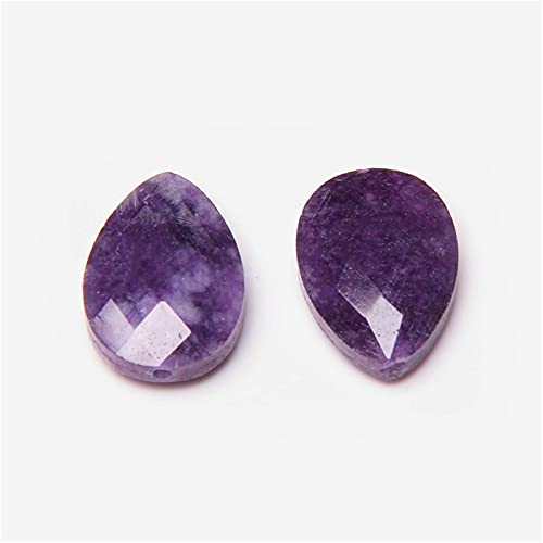 Home decoration Natural Faceted Stone Beads Water Drop Malachite Quartz Kambaba Bracelet Earring Necklace Accessories For Jewelry Making) (Color : Amethyst, Size : 5pcs(13X18mm))